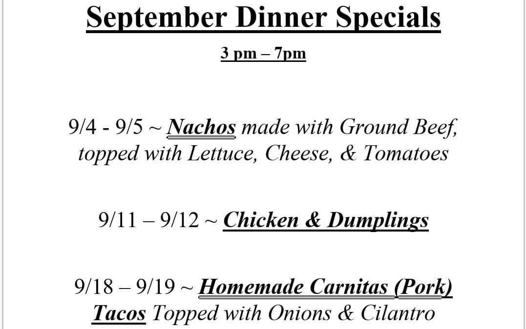September Dining Room News